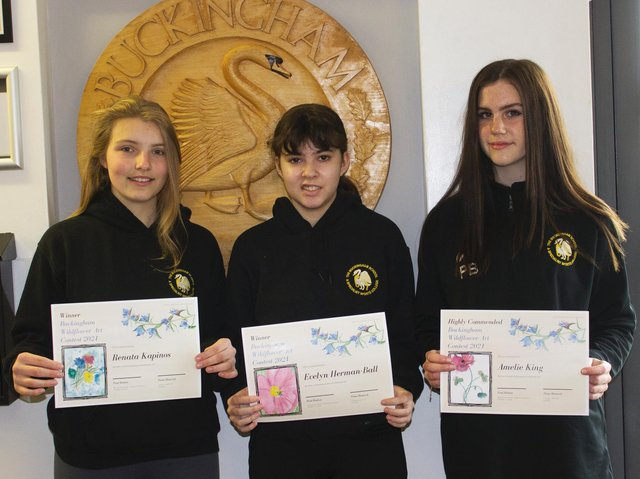 Winners Evelyn Herman-Ball and Renata Kapinos, from The Buckingham School and Amelie King, Highly Commended